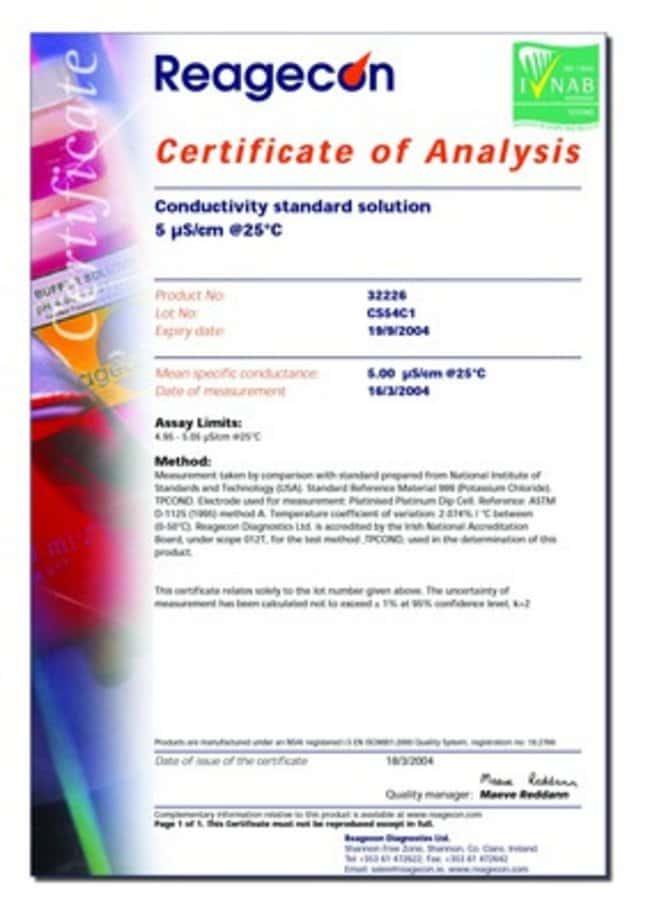 NIST-konforme Leitfähigkeitsstandards, 1.30μS/cm Menge: 250ml Leitfähigkeits- und TDS-Standards
