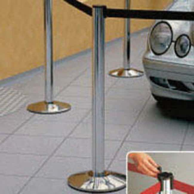 Brady™Retractable Barrier Belt with Chrome Posts Length: 2m; Color: Blue Brady™Retractable Barrier Belt with Chrome Posts