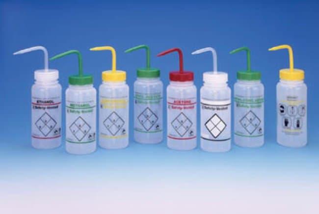 Bel-Art™ SP Scienceware™Frasco de lavado con etiqueta de seguridad de dos colores y de boca ancha de polietileno Capacity: 500mL; Closure Color: Green; Chemical Label: Ethyl Acetate Bel-Art™ SP Scienceware™Frasco de lavado con etiqueta de seguridad de dos colores y de boca ancha de polietileno