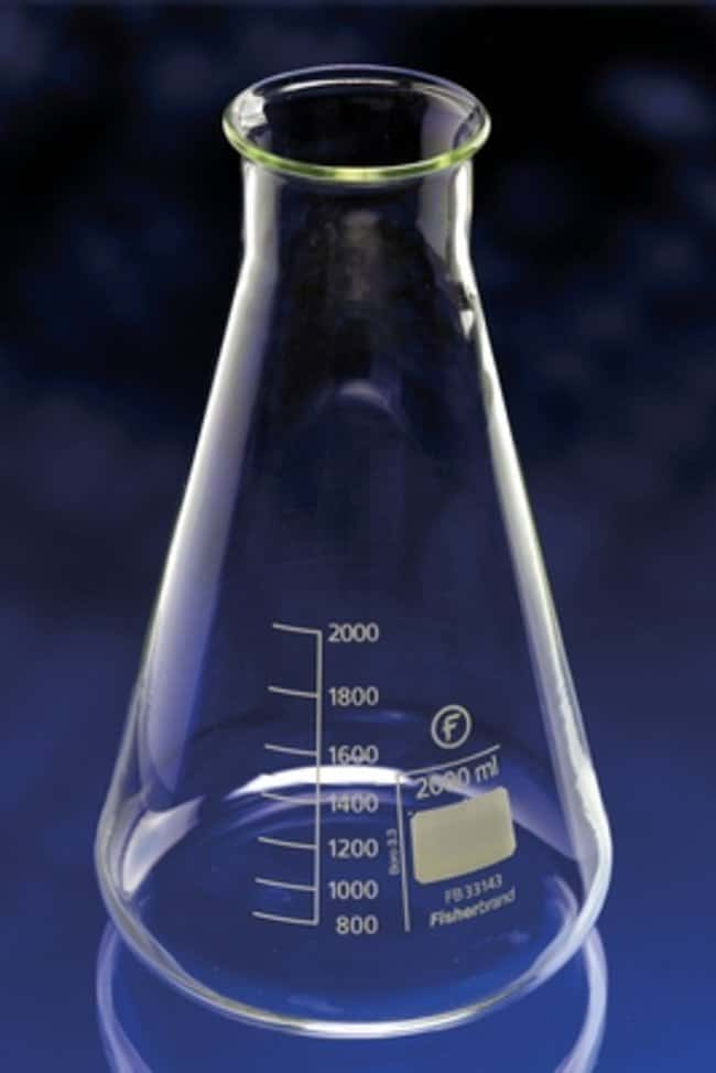 Fisherbrand™Matraces cónicos Erlenmeyer de vidrio de borosilicato con cuello ancho Capacity: 2000mL Fisherbrand™Matraces cónicos Erlenmeyer de vidrio de borosilicato con cuello ancho