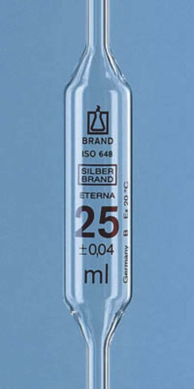 Brand™ Class B AR-Glass/Soda Lime Glass SilberEterna™ Volumetric Bulb Pipet Capacity: 20mL Products