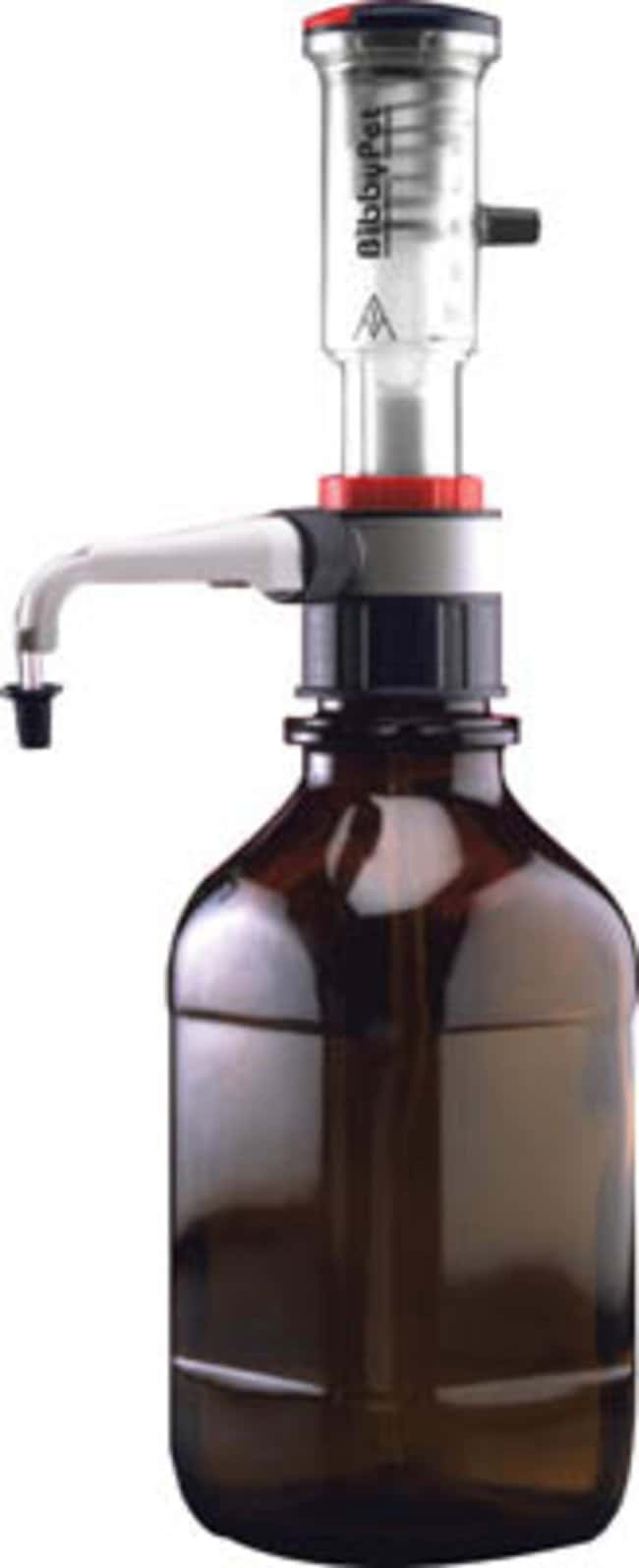 Cole-Parmer™Stuart™ Polypropylene Bottle Top Dispenser For Use With: Closing aqueous solutions, alkalis, dilute acids and polar solvents such as ethanol or acetone Cole-Parmer™Stuart™ Polypropylene Bottle Top Dispenser