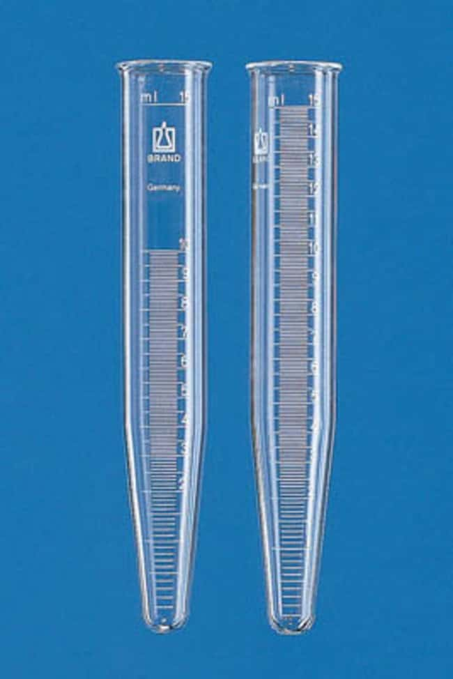 Brand™ Graduated Glass Centrifuge Tube Conical Bottom; Capacity: 15mL; Material: Borosilicate Glass; Graduated at 0-10mL Products