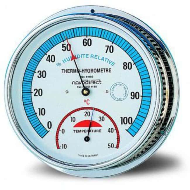 Cole-Parmer™ Thermohygrometer Includes: White Face and Brass Case Non-Electronic Hygrometers