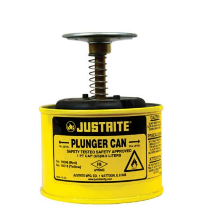 Justrite™Yellow Steel Plunger Can Capacity: 1 pt. (0.5L) Justrite™Yellow Steel Plunger Can