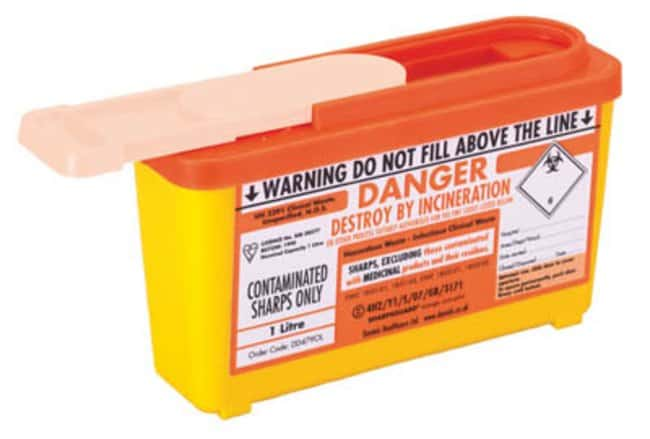 Sharpsguard™ orange com-plus Sharps Container Dimensions: 205L x 120mmH; Capacity: 1L; Color: orange Sharps Disposal Containers