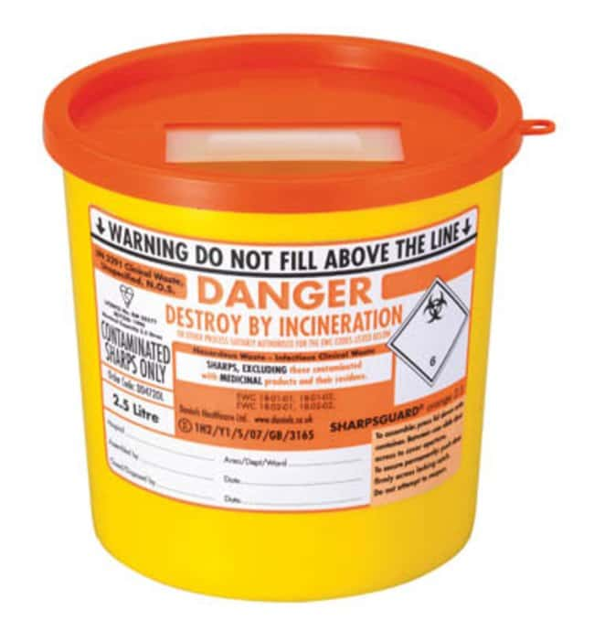Daniels Healthcare™ Sharpsguard™ Polypropylene General Purpose Sharps Container: Sharps Destruction Equipment Hazardous Materials Storage and Disposal