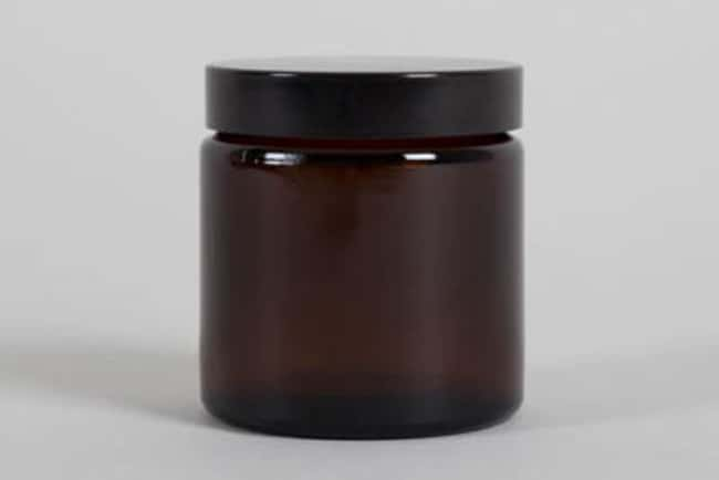 Azpack™Amber Glass Extra Wide Neck Jars with Black Urea Screw Caps Capacity: 120mL; Dimensions: 62 dia. x 63.5mmH Round Glass Bottles