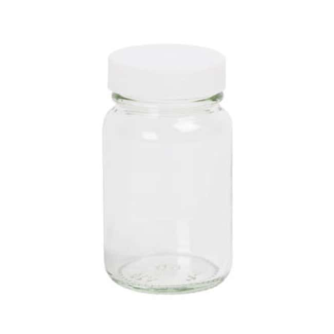Azpack™ Clear Glass Wide Neck Powder Bottles with White Polypropylene Unlined Caps: Bottles Bottles, Jars and Jugs
