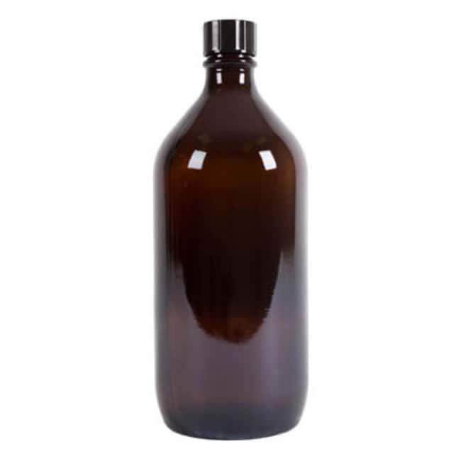 Azpack™Amber Glass Narrow Neck Winchester Bottles with Black Polycone Caps Capacity: 1000mL; Dimensions: 98W x 242.5mmH Azpack™Amber Glass Narrow Neck Winchester Bottles with Black Polycone Caps