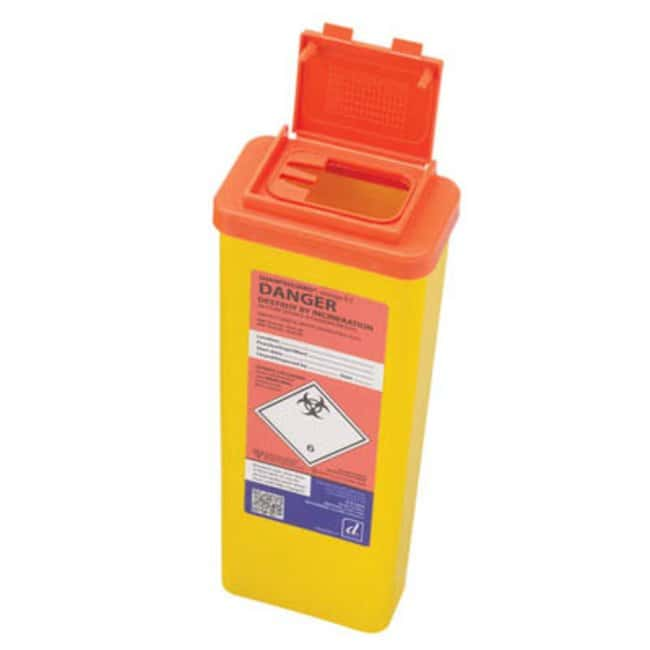 Sharpsguard™ orange 0.5 Multi-Purpose 0.47L Sharps Container with Needle Remover Dimensions: 80L x 200mmH; Capacity: 0.5L; Color: orange Sharps Disposal Containers