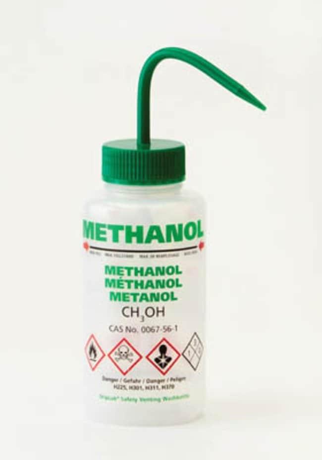 Azlon™ Multi-lingual Safety Venting Wash Bottle Green cap; Methanol label; Capacity: 500mL; Region 1 Azlon™ Multi-lingual Safety Venting Wash Bottle