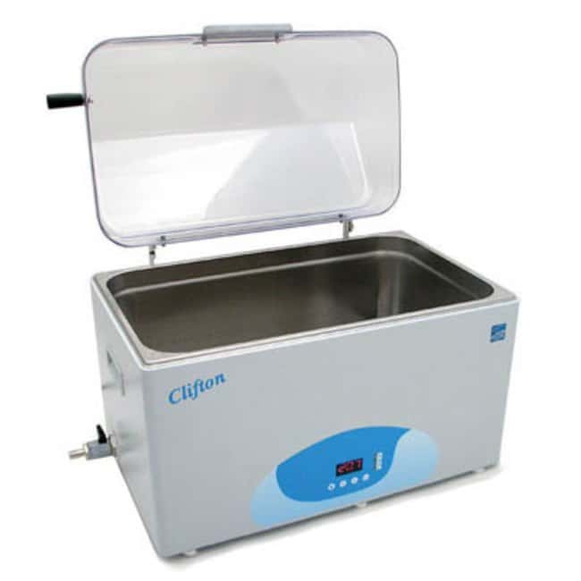 Nickel Electro™Clifton™ Unstirred Digital Water Bath with Hinged Clear Lid, False Base and Timers digital PID, timer, safety cutout stainless steel heater power 1200W, ambient +5°C to 99°C 230V 50Hz internal 500mm x 300mm x 200mm (w x d x h) external 538mm x 332mm x 290mm, 28L General Purpose Water Baths