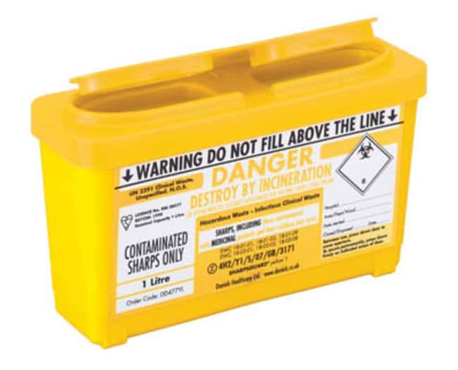 Sharpsguard™ yellow 1 0.84L Multi-Purpose Sharps Container with Push-Down Lid Dimensions: 205L x 120mmH; Capacity: 1L; Color: yellow Sharps Disposal Containers