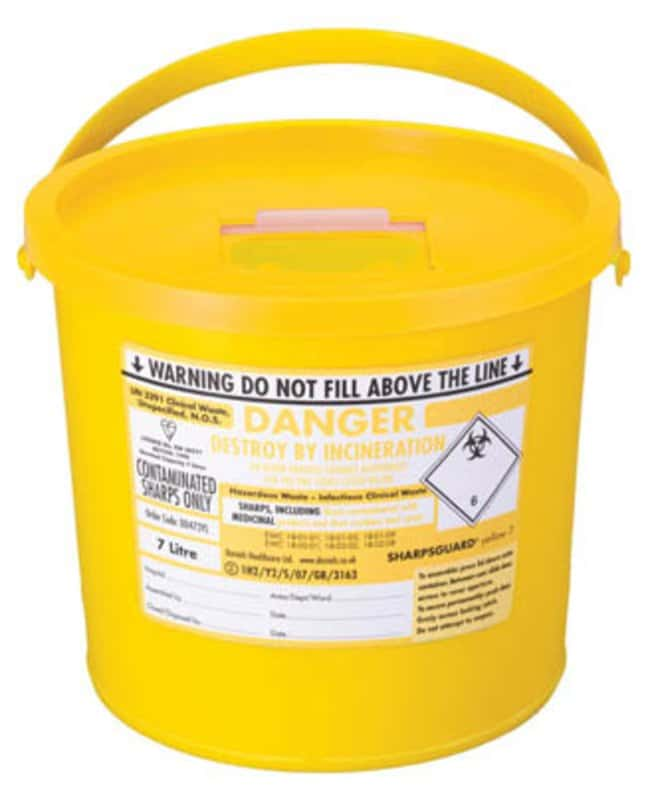 Sharpsguard™ yellow 7 Multi-Purpose 5.8L Sharps Container with Pail Handle Dimensions: 248L x 205mmH; Capacity: 7L; Color: yellow Sharps Disposal Containers
