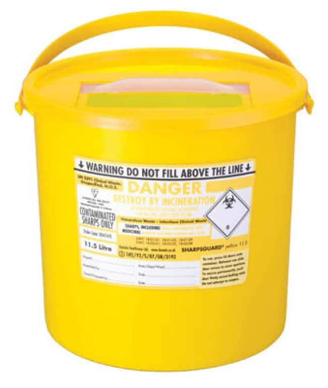 Sharpsguard™ yellow 11.5 Multi-Purpose 9.27L Sharps Container with Pail Handle Dimensions: 280L x 250mmH; Capacity: 11.5L; Color: yellow Sharps Disposal Containers