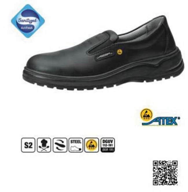 ABEBA™Scarpe di sicurezza modello mocassino ESD in pelle nera Size: 37 ABEBA™Scarpe di sicurezza modello mocassino ESD in pelle nera