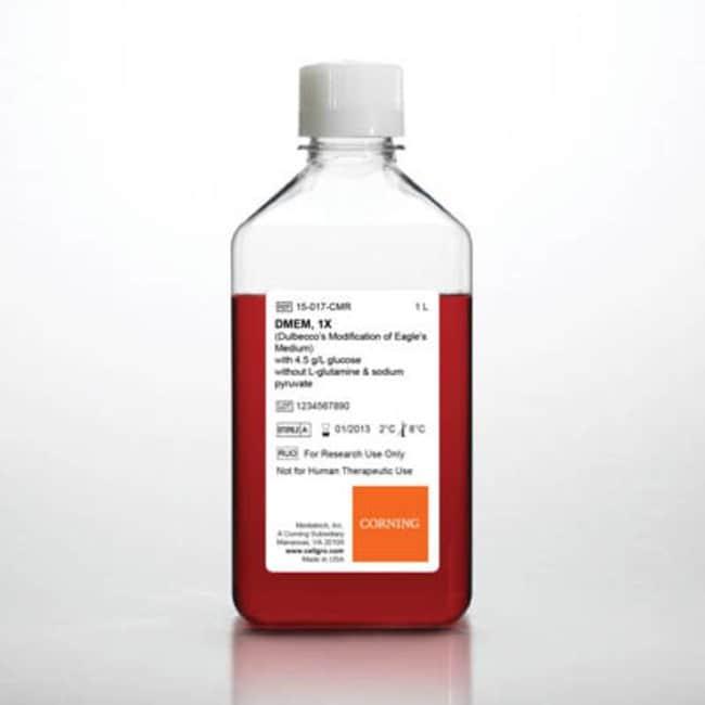 Corning™cellgro™ DMEM Liquid Classical Cell Culture Media w/Glucose; w/o Sodium pyruvate, L-glutamine; Qty: 6 x 1L Corning™cellgro™ DMEM Liquid Classical Cell Culture Media