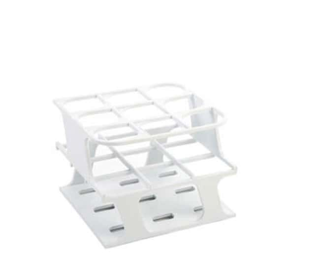 Fisherbrand™ Delrin™ Half-Size Test Tube Racks, 9 x 30mm Color: White, Dimensions (L x W x H): 110 x 110 x 85mm Fisherbrand™ Delrin™ Half-Size Test Tube Racks, 9 x 30mm