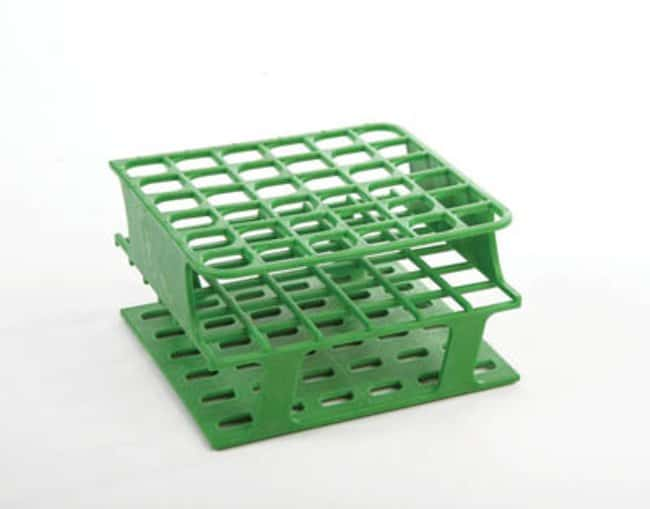 Fisherbrand™ Delrin™ Half-Size Test Tube Racks, 36 x 16mm Color: Green, Dimensions (L x W x H): 127 x 127 x 70mm Fisherbrand™ Delrin™ Half-Size Test Tube Racks, 36 x 16mm