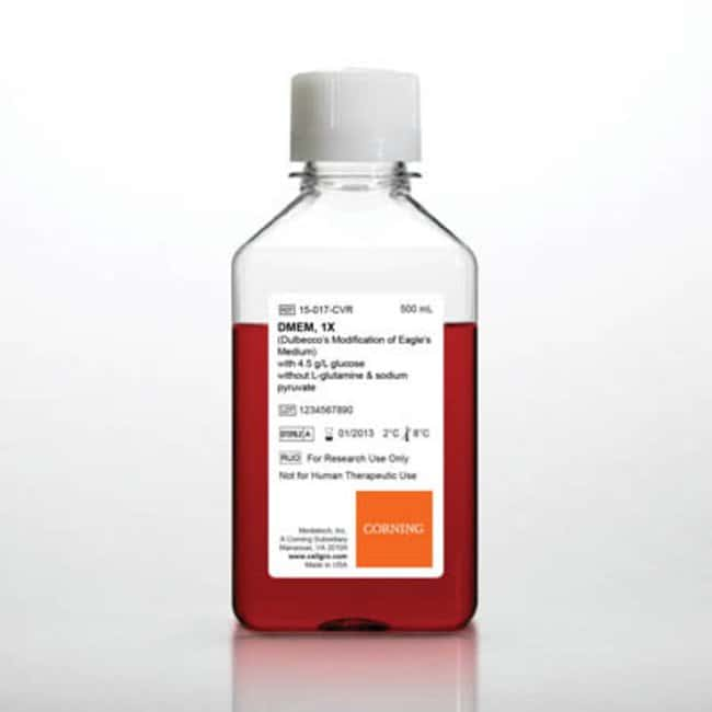 Corning™ cellgro™ DMEM Liquid Classical Cell Culture Media w/Glucose; w/o L-glutamine, Sodium pyruvate; Qty: 6 x 500mL Corning™ cellgro™ DMEM Liquid Classical Cell Culture Media