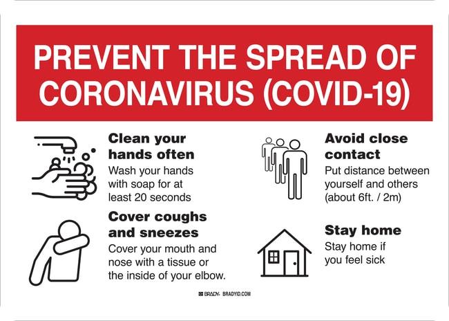BradyPrevent the Spread of Coronavirus (COVID-19) Sign:Facility Safety