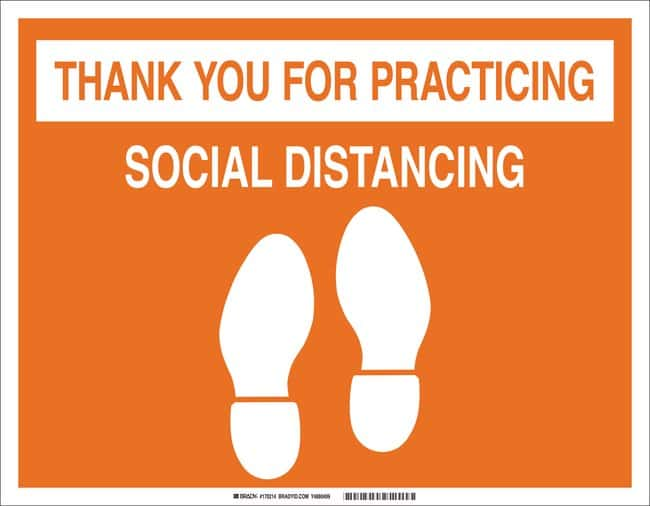 BradyThank You For Practicing Social Distancing Floor Sign Color: Orange, |  Fisher Scientific