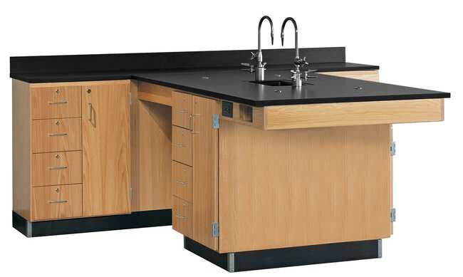 Diversified Woodcrafts Perimeter Workstations with Sink   Solid epoxy resin