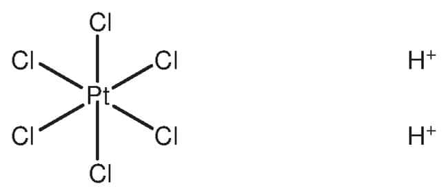 hydrogen hexachloroplatinate(IV) hydrate, ACS reagent, ACROS Organics™ 25g; Glass bottle hydrogen hexachloroplatinate(IV) hydrate, ACS reagent, ACROS Organics™