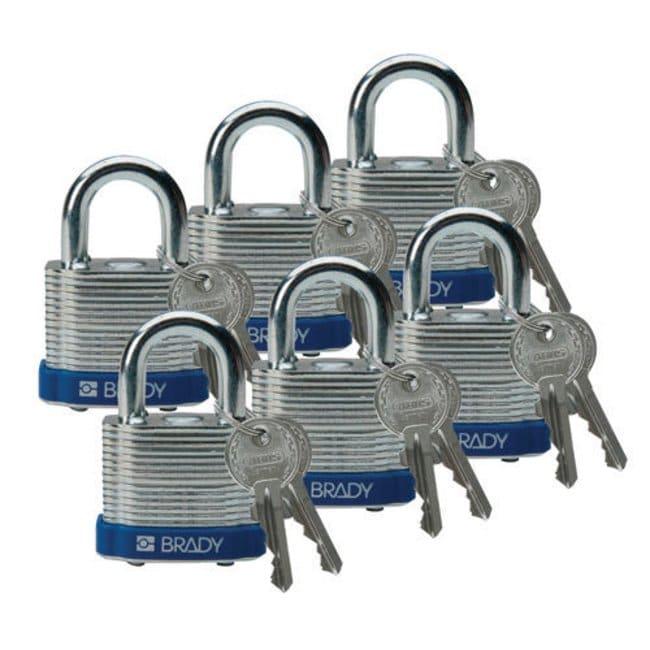 Brady Keyed-Different Steel Padlocks with 0.75 in. Shackle Locks Blue;