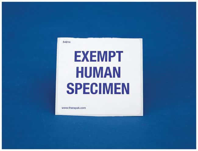 Therapak Exempt Human Specimen Label:Gloves, Glasses and Safety:Facility