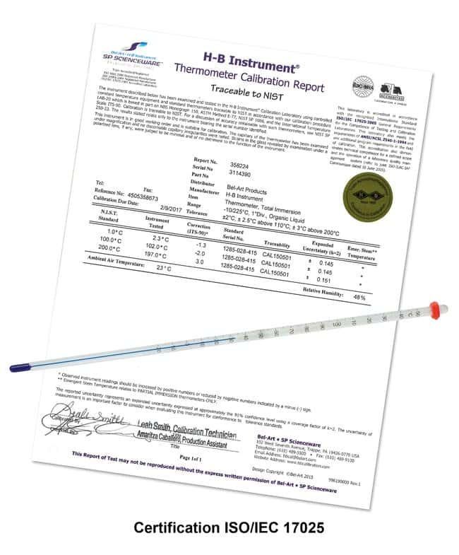 H-B Instrument Durac Plus Calibrated Partial Immersion Thermometers Range: