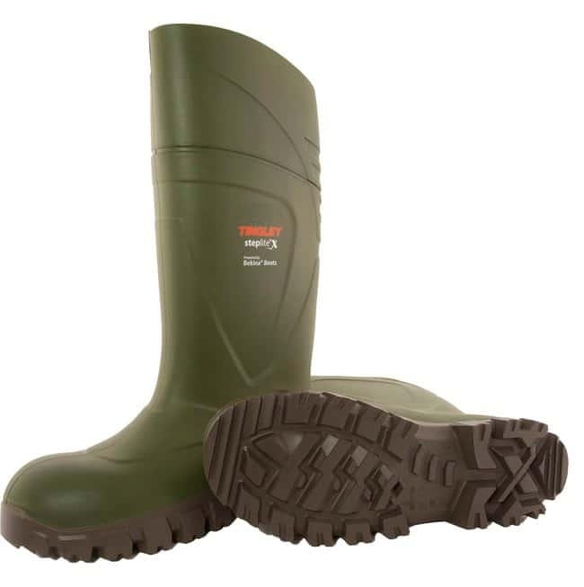 TINGLEY Steplite X Knee Boot, Green Upper, Beige Sole, Plain Toe Size 7