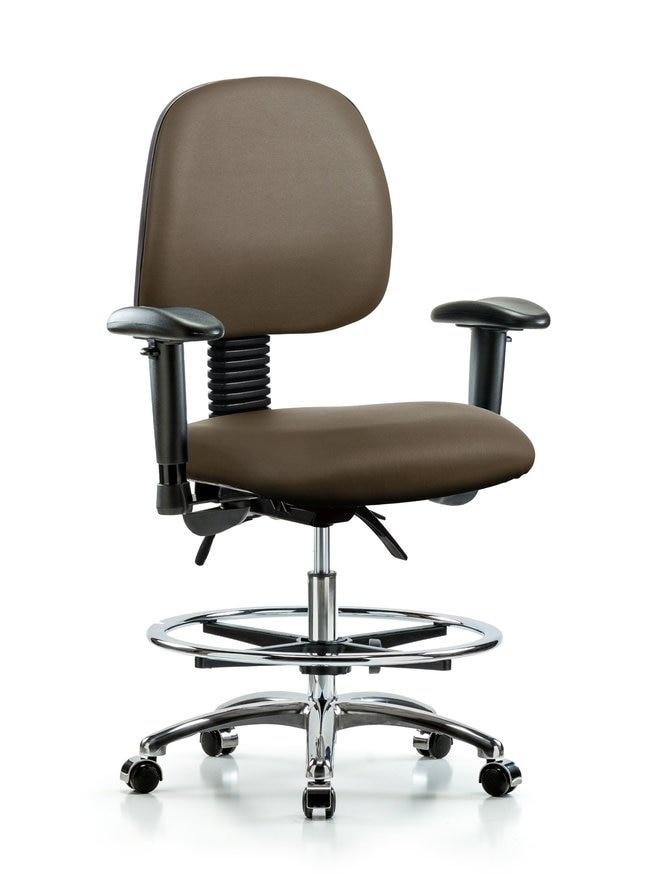 FisherbrandVinyl Chair Chrome - Medium Bench Height with Medium Back Taupe:Furniture