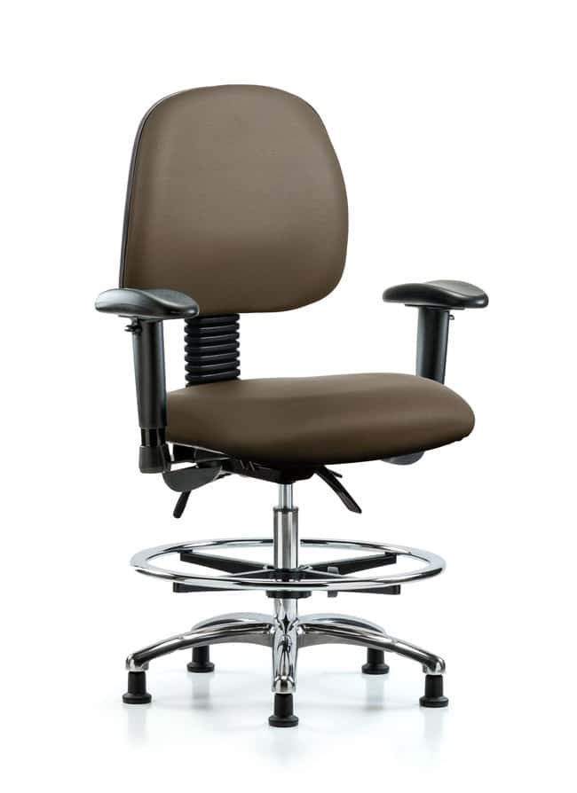 Fisherbrand Vinyl Chair Chrome - Medium Bench Height with Medium Back Taupe:Furniture,