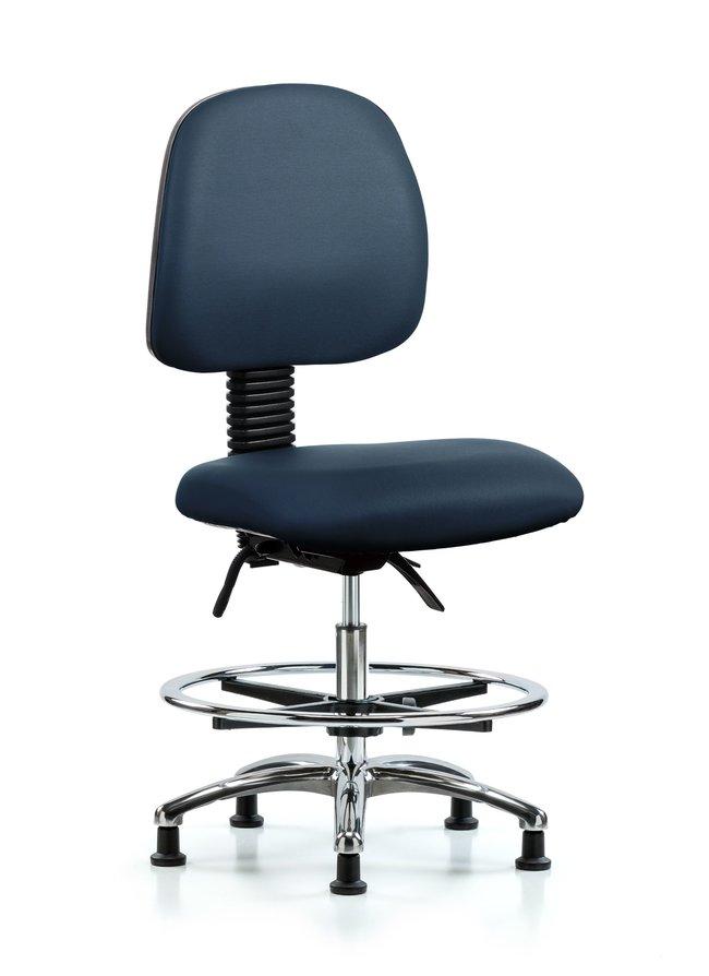 FisherbrandVinyl Chair Chrome - Medium Bench Height with Medium Back, Seat
