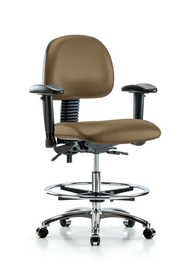 Fisherbrand Vinyl Chair Chrome - Medium Bench Height with Adjustable Arms,