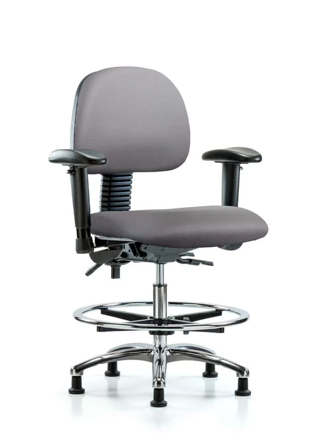 FisherbrandVinyl Chair Chrome - Medium Bench Height with Adjustable Arms,