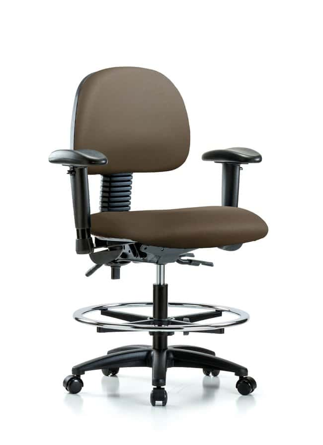 Fisherbrand Vinyl Chair - Medium Bench Height with Adjustable Arms, Chrome