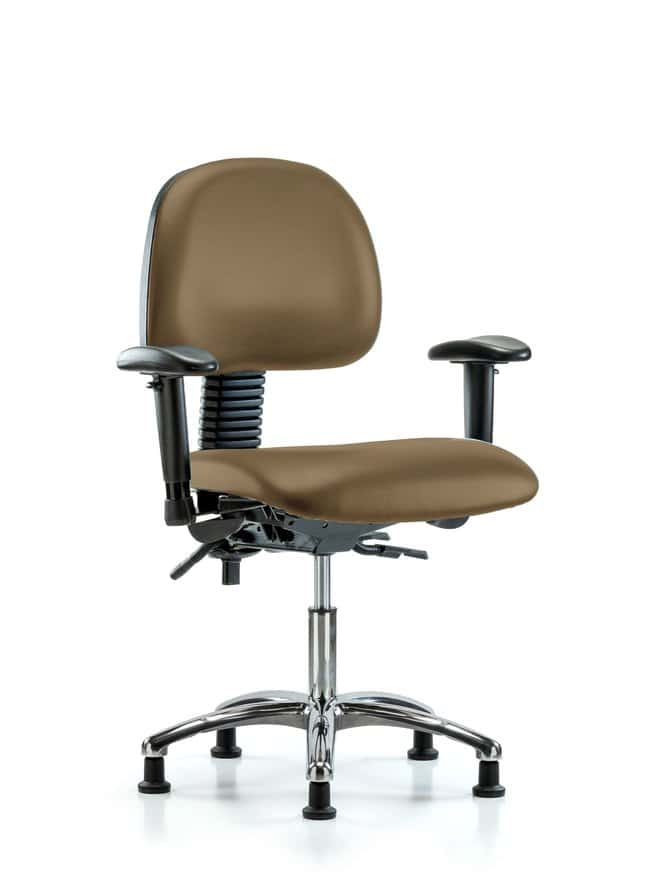 Fisherbrand Vinyl Chair Chrome - Desk Height with Adjustable Arms and Casters
