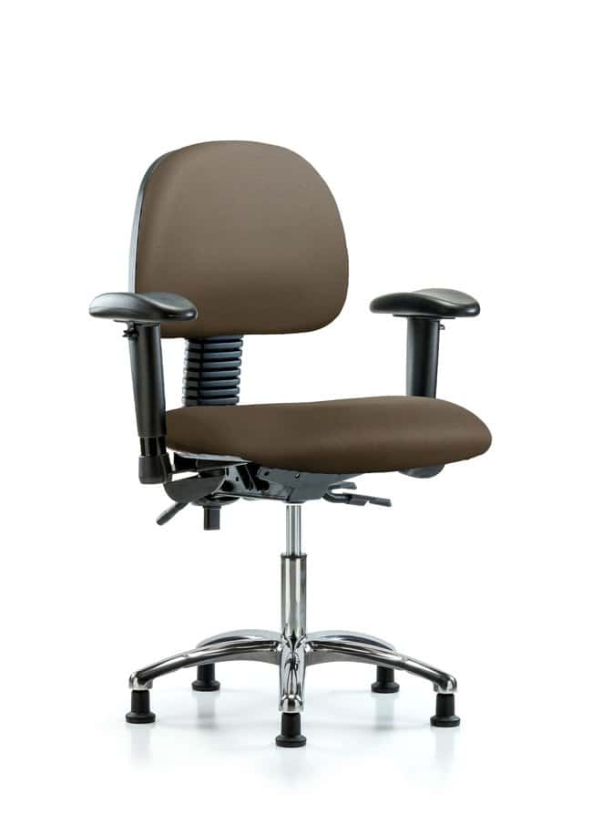 FisherbrandVinyl Chair Chrome - Desk Height with Adjustable Arms and Casters