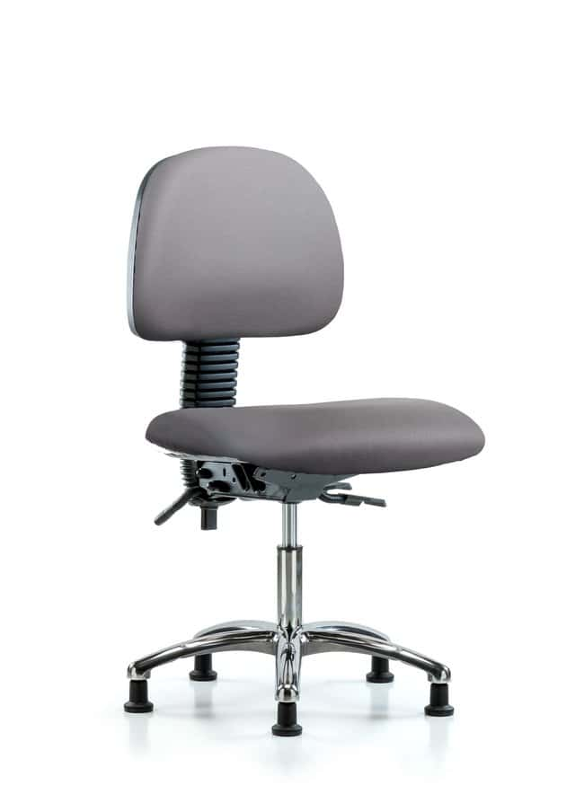 FisherbrandVinyl Chair Chrome - Desk Height with Seat Tilt and Casters