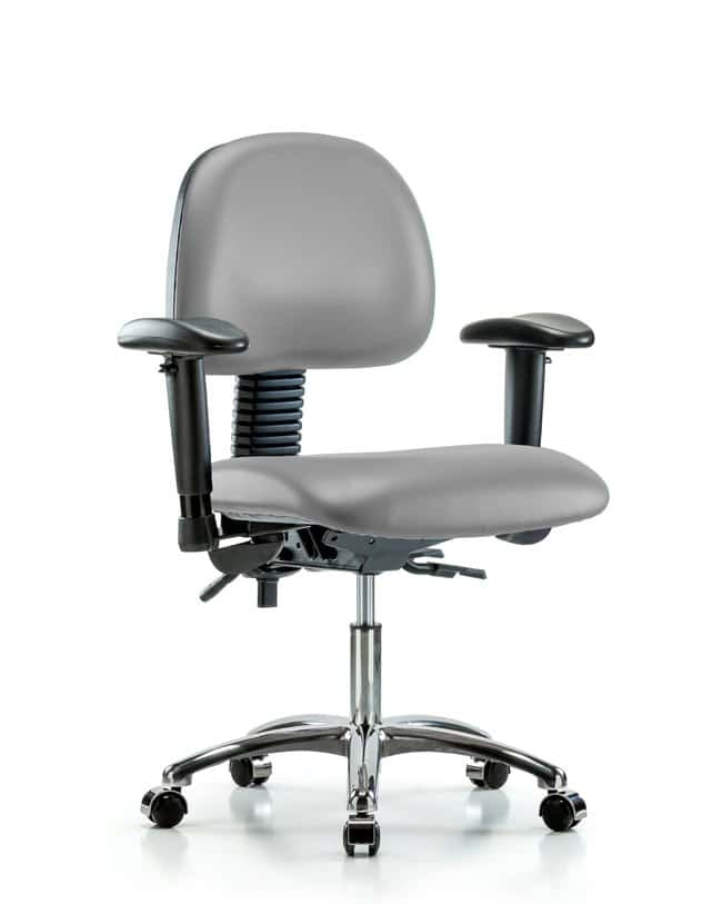 Fisherbrand Vinyl Chair Chrome - Desk Height with Seat Tilt Dove:Furniture,