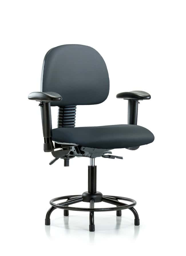 Fisherbrand Vinyl Chair - Desk Height with Round Tube Base Storm:Furniture,