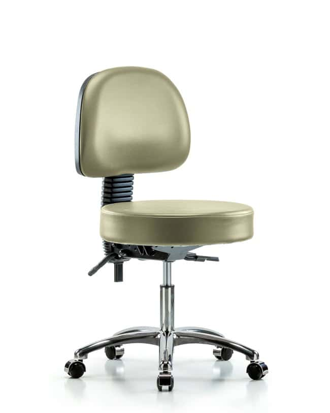 FisherbrandVinyl Stool with Back Chrome - Desk Height with Seat Tilt and