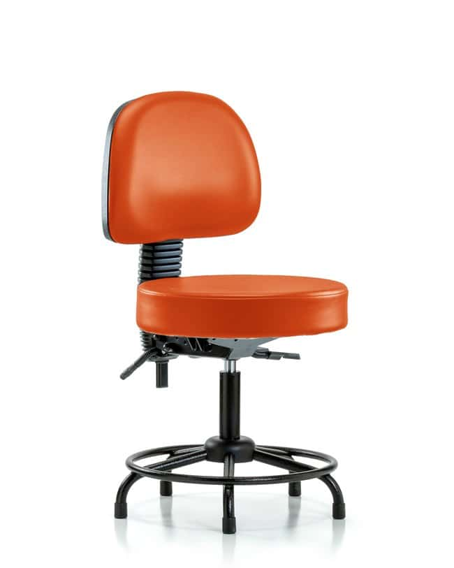 Fisherbrand Vinyl Stool with Back - Medium Bench Height with Chrome Foot