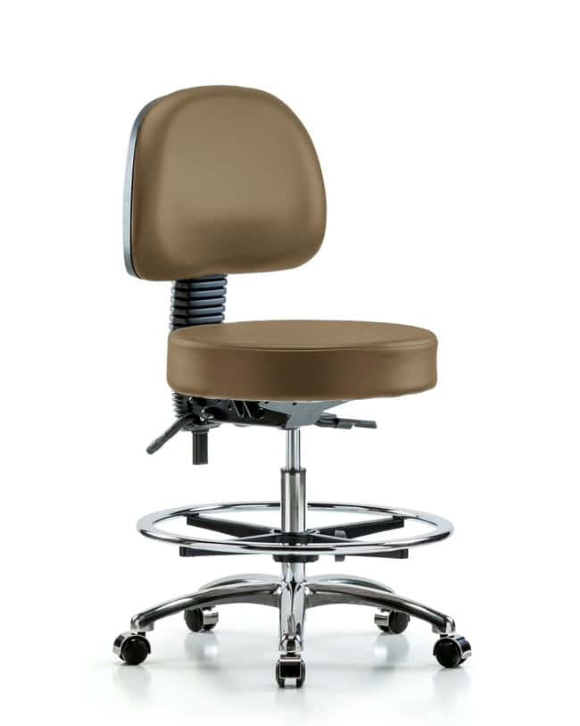Fisherbrand Vinyl Stool with Back Chrome - Medium Bench Height with Seat