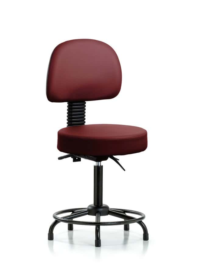 Fisherbrand Vinyl Stool with Back - Medium Bench Height with Round Tube