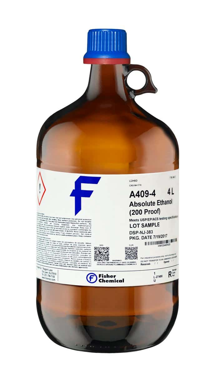 Ethanol, 200 Proof (100%), USP/EP/ACS, Tax-Paid, Fisher Chemical