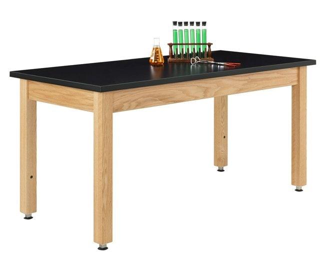 Diversified Woodcrafts Adjustable Wooden Leg Oak Table  :Teaching Supplies:Classroom